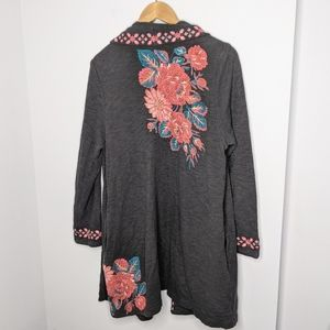 J. Jill stretch open Cardigan embroidered size L